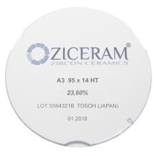 Диоксид циркония Ziceram Ø95 Super High Translucent 18